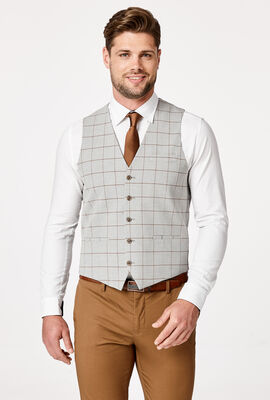 EARLS VEST, Light Grey Windowpane, hi-res