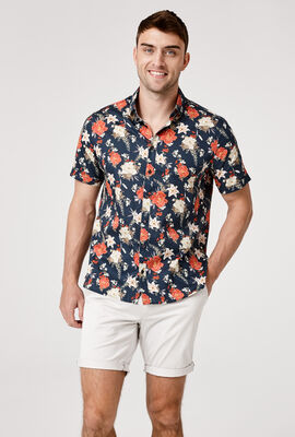 SENNORI SHORT SLEEVE SHIRT, Navy/Multi, hi-res