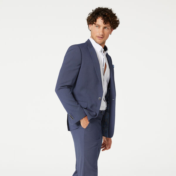 HENNRY SUIT JACKET, Blue Dobby, hi-res