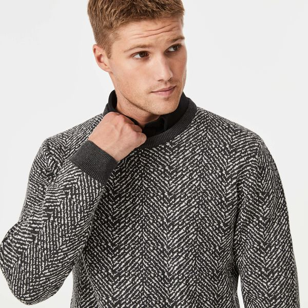 Burdan Crew Neck  Jumper, Charcoal, hi-res