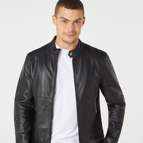 Hawkes Leather Jacket, Black, hi-res