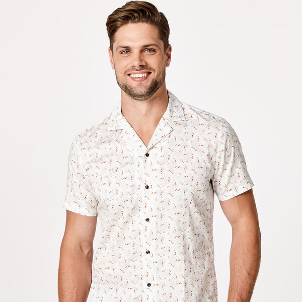 BURATTO SHORT SLEEVE SHIRT, White/Light Khaki, hi-res
