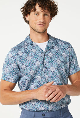 RADDA SHORT SLEEVE SHIRT, Navy/Teal, hi-res