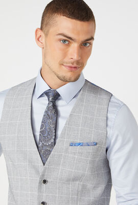 PARKGATE VEST, Grey Windowpane, hi-res