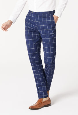 NORLAND SUIT PANT, Navy Windowpane, hi-res
