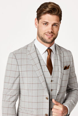 ELLIJAH BLAZER, Light Grey Windowpane, hi-res
