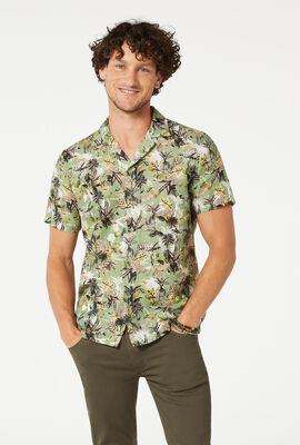 SAFARI SHORT SLEEVE SHIRT, Green Multi, hi-res