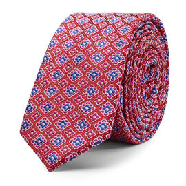 AVIANO MULTI COLOUR GEO PATT TIE, Red, hi-res