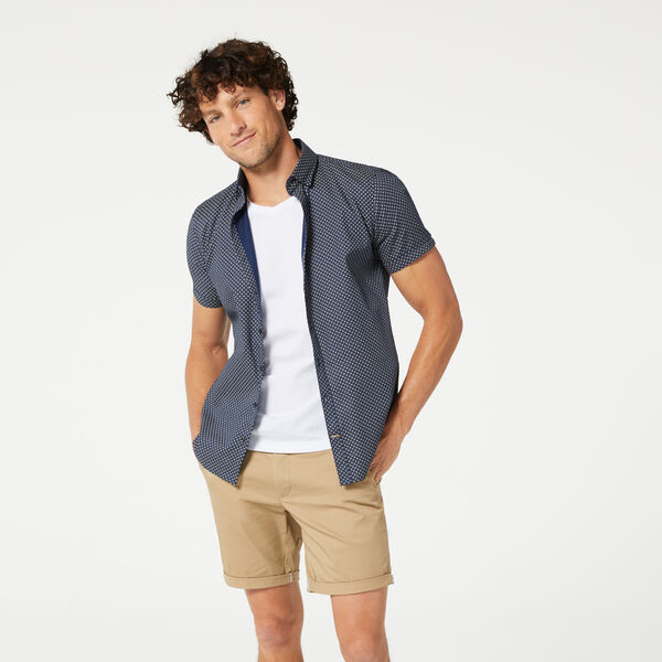 OMEGA SHORT SLEEVE SHIRT, Navy/Tan, hi-res