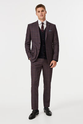 Fischer Suit Pant, Burgundy Check, hi-res