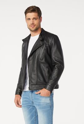 ALTONA LEATHER JACKET, Black, hi-res