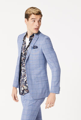 SPRINGFIELD SUIT JACKET, Blue Windowpane, hi-res