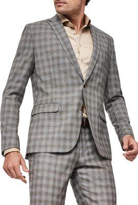 CLAREDALE SUIT JACKET, Grey Tan Check, hi-res