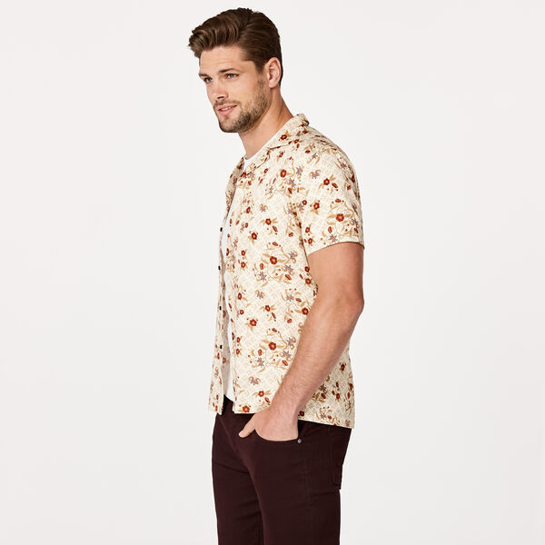 CHEUNG SHORT SLEEVE SHIRT, Tan/Burgundy, hi-res