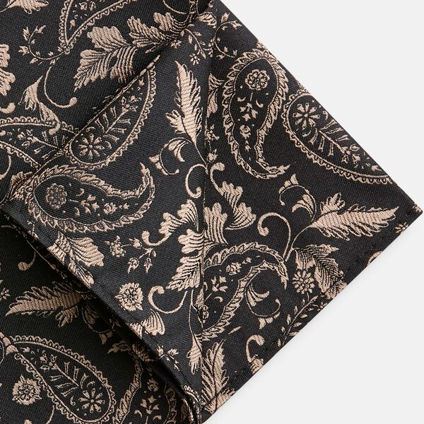 RAVALLE POCKET SQUARE, Black/Gold, hi-res