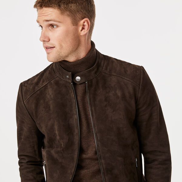 Torquay Leather Jacket, Brown, hi-res