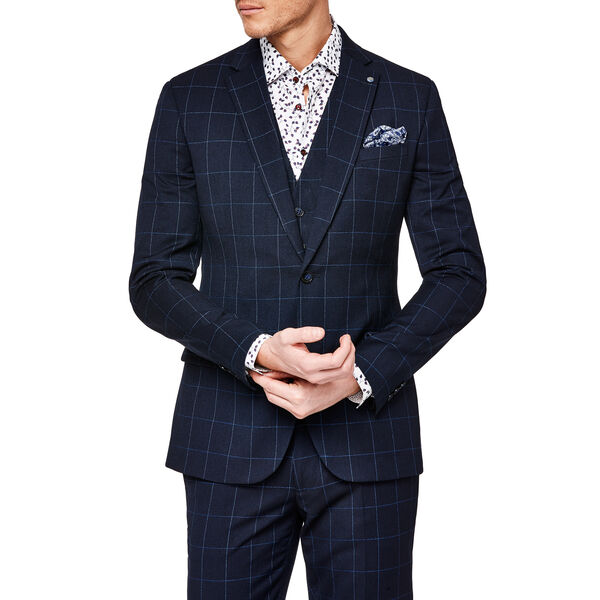 MORETTA SUIT, Navy Windowpane, hi-res