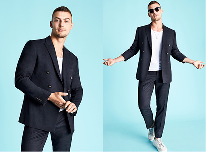t shirt and suit jacket combination