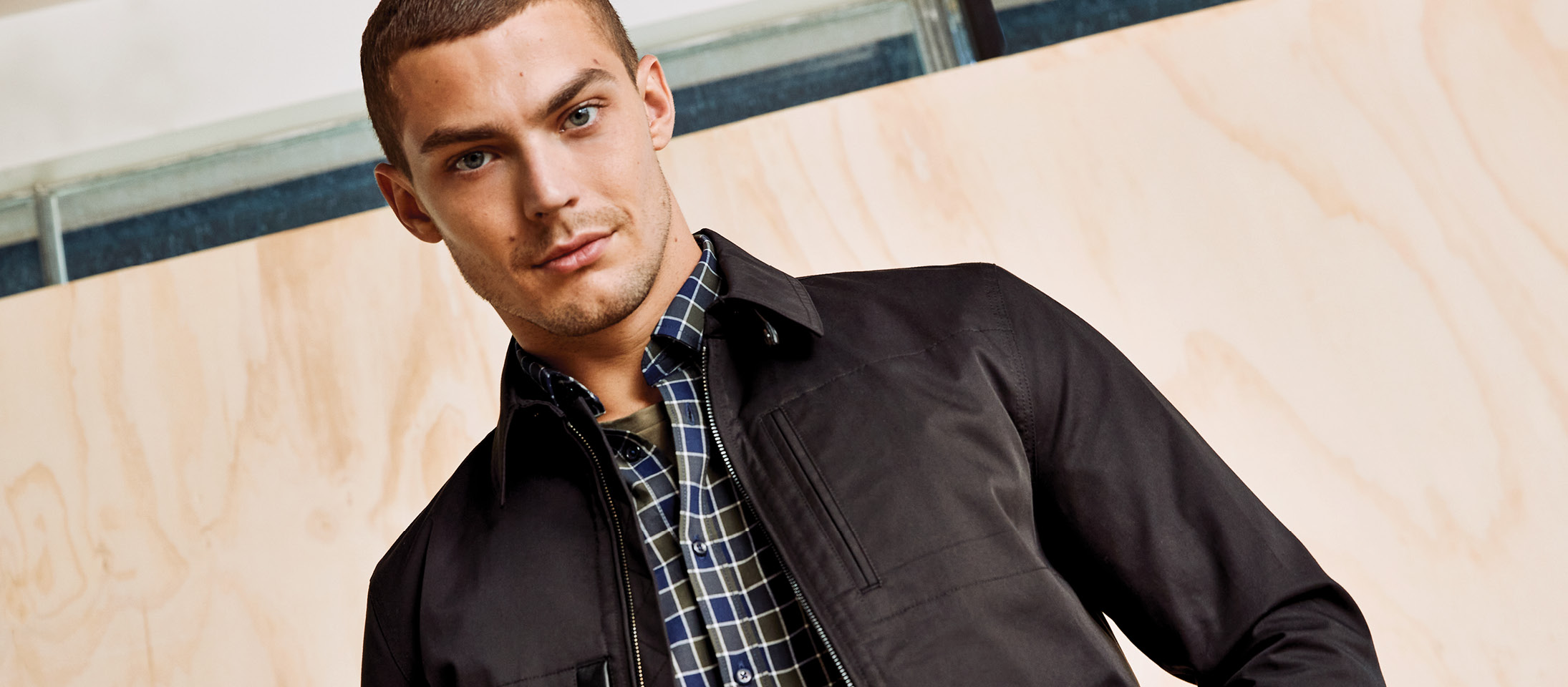 Check shirt for men with jacket